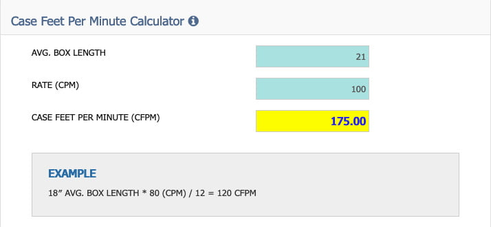 Conveyor speed calculator
